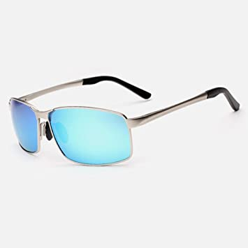 WYYY Sonnenbrillen Schutzbrillen Fahrbrille Männer Quadratische Box Gefärbt Im Freien Klassisch Retro Polarisiertes Licht Sonnenschutz Anti-UVA UV-Schutz 100% (Farbe : Silber) HvTOn
