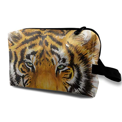 With Wristlet Cosmetic Bags Tiger Face Travel Portable Makeup Bag Zipper Wallet -