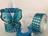 10 Turquoise Fillable Butterfly Bottles Baby Shower Favors Prizes Girl Boy Decorations