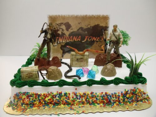 - Indiana Jones Birthday Cake Topper Set Featuring Indiana Jones and Themed Decorative Pieces