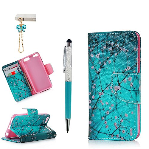 iPod Touch 6 Case, MOLLYCOOCLE Wallet Purse Credit Card ID Holders Magnetic Pink Flower Bule Premium PU Leather Soft TPU Bumper Slim Fit Flip Folio Case Cover for iPod Touch 5