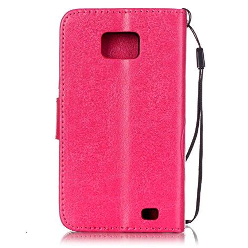 JIALUN-Personality teléfono shell Samsung S2 I9100 caja de flores en relieve, cierre magnético PU sintética cubierta de la caja con cuerda colgante y función de la cartera para Samsung S2 I9100 Seguri Rose