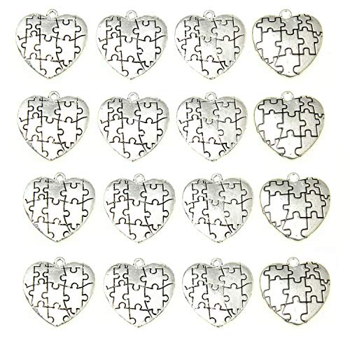 Monrocco 30 Pack Silver Puzzle Piece Heart Charms Pendants Autism Awareness Charms for Bracelets Jewelry Making ()