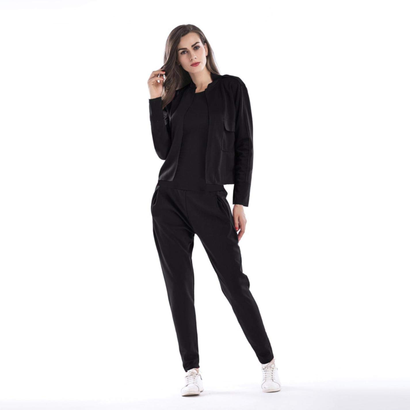 Women Square Letter Print Sports Round Collar Long Sleeve Sweater Set