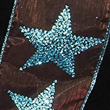 """Metallic Sheer Brown and Blue Sparkling Stars Wired Craft Ribbon 2.5"""" x 40 Yards"""