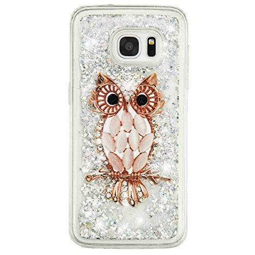 Price comparison product image Urberry Galaxy S7 Edge Case, Floating Bling Glitter Sparkle Case for Samsung Galaxy S7 Edge with a Screen Protector (YB-Owl)