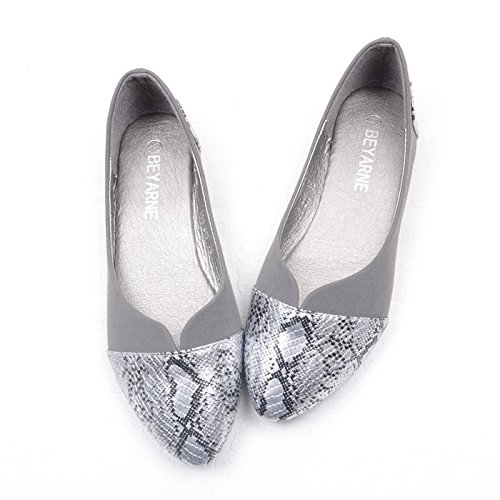 flat ladies shallow mouth WYMBS women flat new gray pointed size serpentine single large shoes stitching heel shoes The qwRIvw1