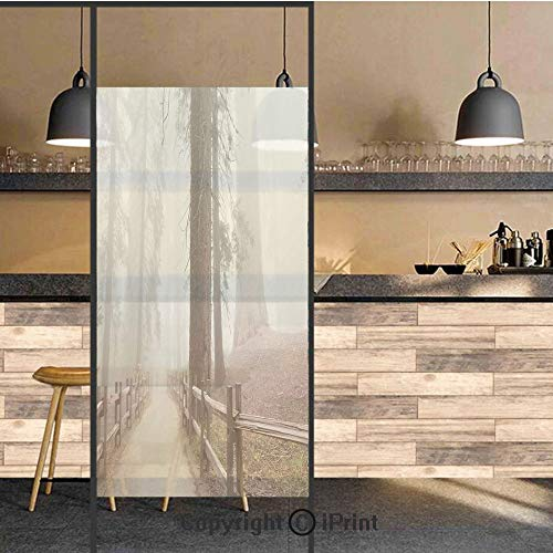 - 3D Decorative Privacy Window Films,Evergreen Forest and Walkway in Sequoia National Park Foggy Morning Nature Art,No-Glue Self Static Cling Glass film for Home Bedroom Bathroom Kitchen Office 24x36 In
