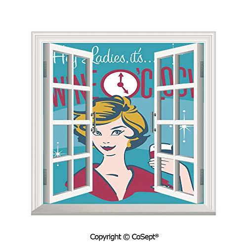 SCOXIXI Creative Window View Wall Decor,Ladies Its Wine Oclock Pretty Woman Drinking Portrait Cheers Retro Design Decorative,Window Stickers Have Beautiful Scenery(25.86x22.63 inch) (Ct Co Wine Southern)