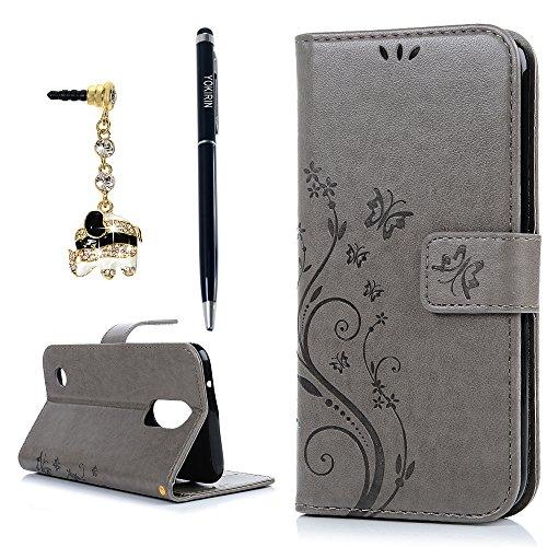 YOKIRIN LG K20 Plus Case, LG K20 V Case, LG K10 2017 Case, Wrist Strap Flip Kickstand PU Leather Wallet Cover Embossed Floral Butterfly with ID&Credit Card Holder 3D Elephant Dust Plug, Gray