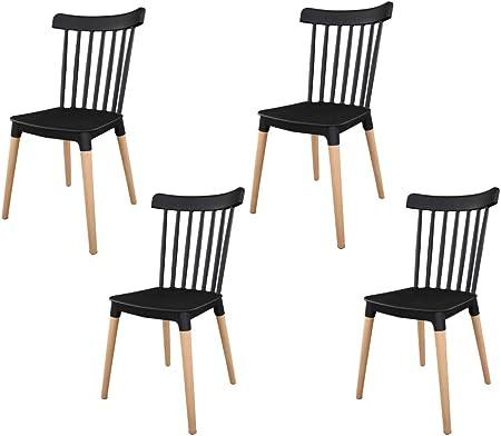 IBH DESIGN Lot 4 Chaises Masena – Chaise scandinave Chaise à barreaux (Noir)