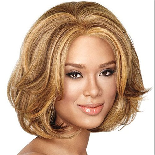 Price comparison product image Golden European and American style wig, WIG short curly hair, fashion black wig