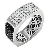 1.50 Carat (ctw) 14K Gold Round Black & White Diamond Men's Ring 1 1/2 CT