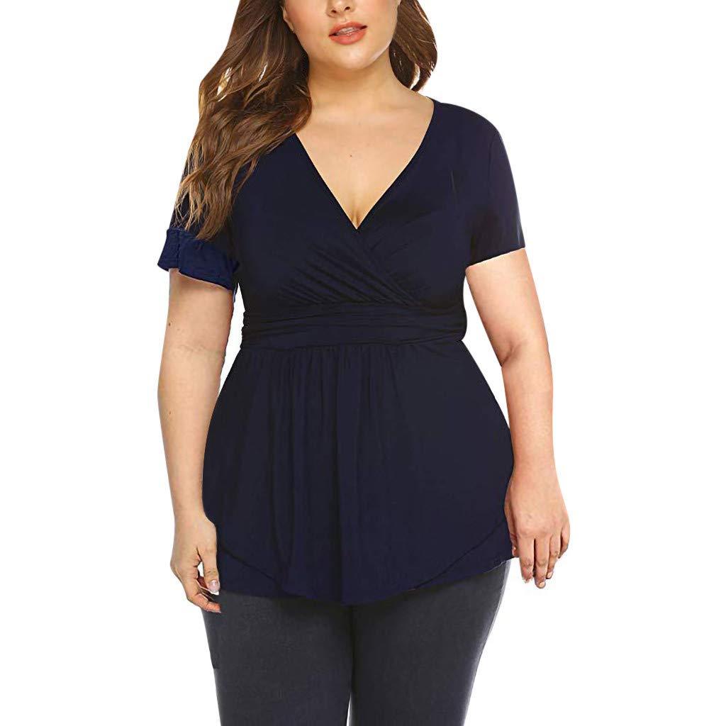 Women Plus Size V Neck Wrap Front Drape Tops Short Sleeve Empire Waist Flowy Tunic Dressy Blouse Blue