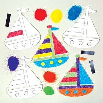 Sandkunstmagneten Segelboot Für Kinder Zum Gestalten Basteln Und