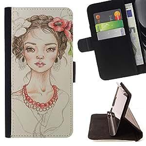 Ihec-Tech / Negro Flip PU Cuero Cover Case para Apple Iphone 5 / 5S - Perle Fashion Portrait Beige