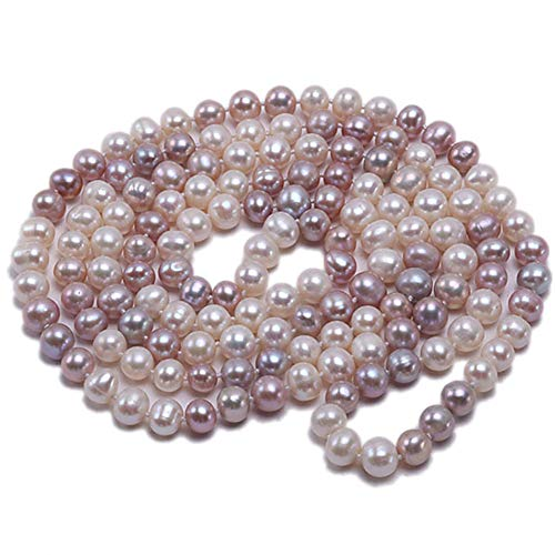 Long Multi Color Pearl - JYX AA + Pearl Long Necklace Classical 8-9mm Multi Color Natural Freshwater Cultured Pearl Sweater Necklace 47