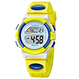 Fashion Casual Sport Students Children Boys Girls Waterproof LED Digital Multifunction Quartz WristWatch Rubber Strap (Yellow)