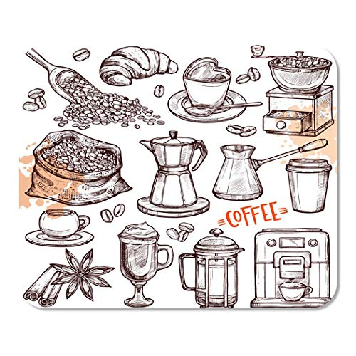 Suike Mousepad Computer Notepad Office Coffee Collection Sketch with Turk Cups with Beans Croissant Mill Maker Kettle Latte Home School Game Player Computer Worker 9.5x7.9 Inch
