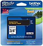 "Genuine Brother 3/4"" (18mm) Gold on Black TZe P-touch Tape for Brother PT-P700, PTP700 Label Maker"
