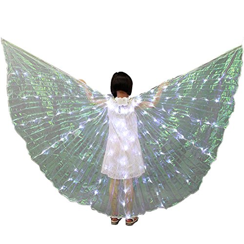 Wgwioo Children Belly Dance LED Angel Isis Wings 360 Degrees With Flexible Sticks,White]()