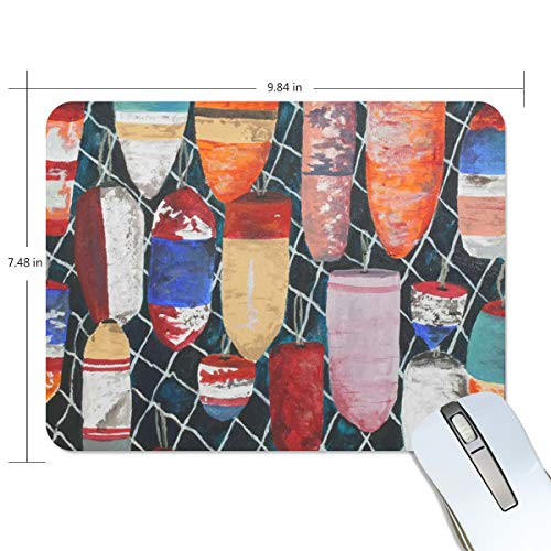 FAJRO Colorful Buoy Painting Nautical Standard Computer Mouse Pad Desk Mouse Pad Gaming Mat Non-Slip Rubber Base and Jersey Surface for Office, Home Use - Standard Buoy
