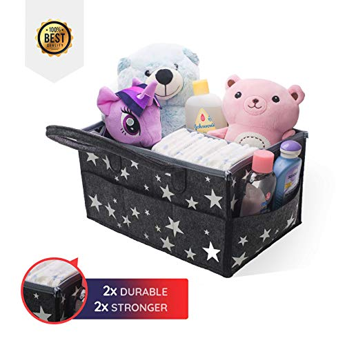 (Baby Diaper Caddy Organizer | Bhome Felt Stars Portable Holder Bag | Storage Bin with Changeable Compartments | Washable Baby Baskets for Newborn Baby Essentials | Nursery Unisex Boy and Girl)