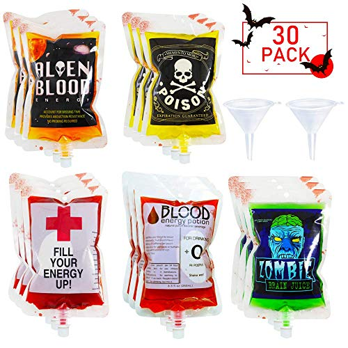 Halloween Themed Shots Drinks (POKONBOY 30 Pack Halloween Novelty Blood Bags Drink Container with 2 Funnels for Halloween Party Decorations, Reusable Food Grade 6 Patterns 8.5OZ Bags Halloween Party Cups for Theme Parties, Zombie,)