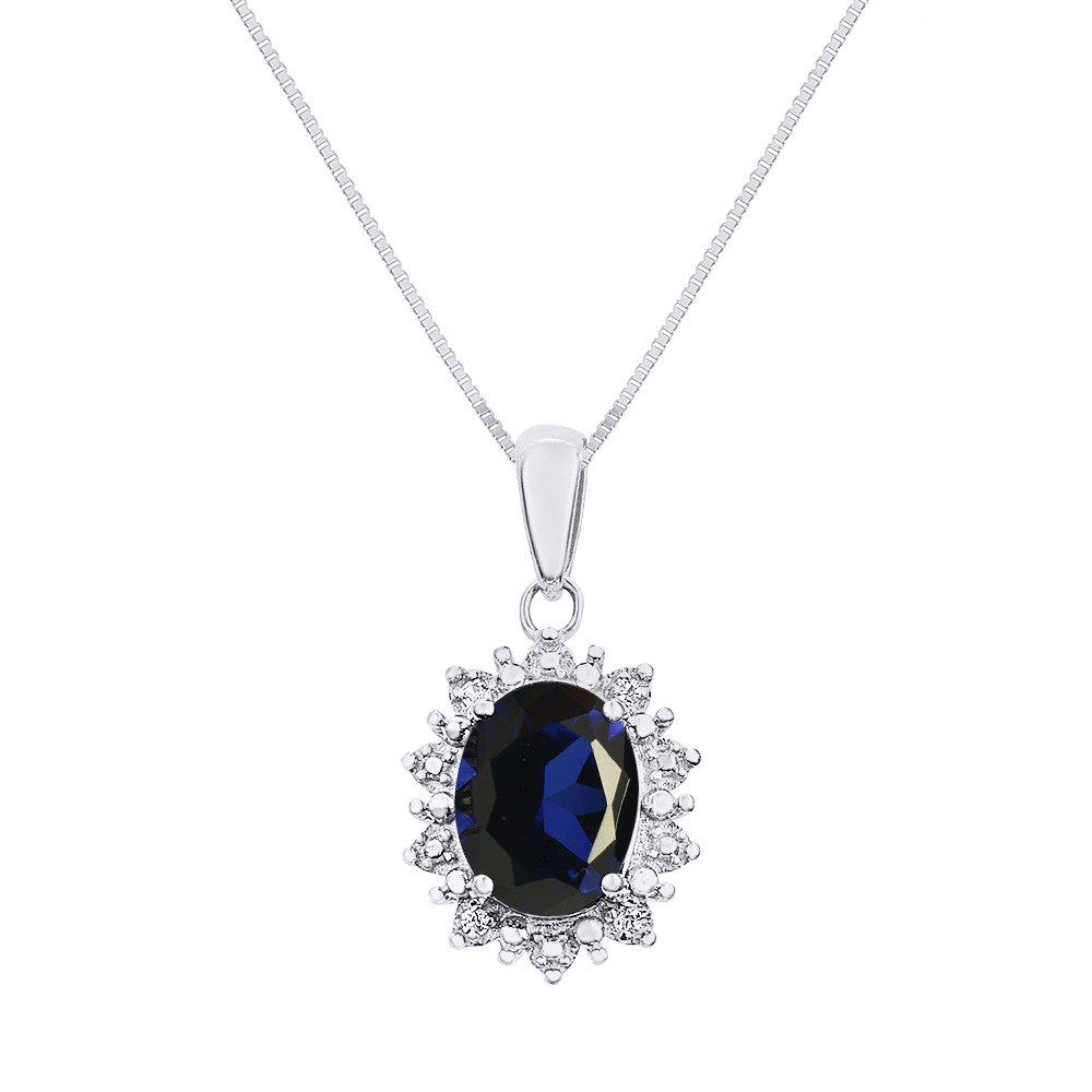 Both Ring /& Necklace Princess Diana Inspired Halo Designer Style Diamond /& Sapphire Matching Pendant Necklace and Ring Set In Sterling Silver .925