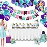 Katie Doodle Mermaid Party Decoration Supplies Pack (100 Piece Set) - Happy Birthday Banner, Colorful Pompoms, Latex & Foil Balloons, Glitter Cupcake Wrappers & Cake Toppers, Party Favor Crowns