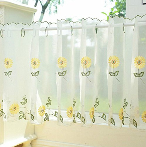 EatingBiting(R)Sunflower Embroidery Kitchen Curtain , Cafe Sheer Curtain, Voile Valances Dining Room Curtain, Sunshine Semi Sheer Valances , Room Divider (Kitchen Divider Curtain)