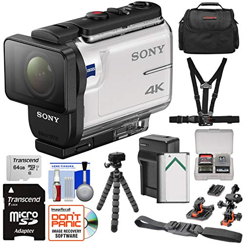(Sony Action Cam FDR-X3000 Wi-Fi GPS 4K HD Video Camera Camcorder with Chest & Helmet Mounts + 64GB Card + Battery & Charger + Case + Tripod + Kit)