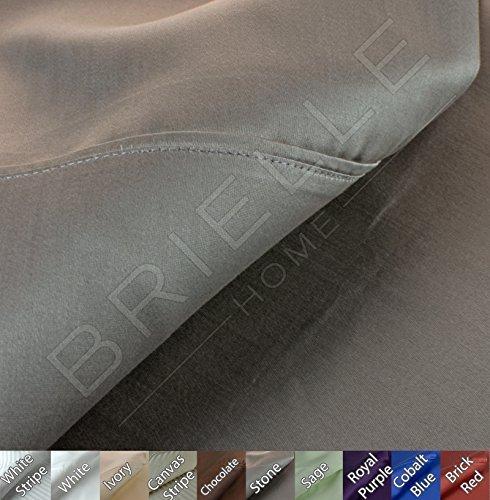 600 Tc Solid Sheet Set (Brielle 630 Thread Count Egyptian Cotton Sateen Premium 600 Plus Sheet Set, Full, Stone)