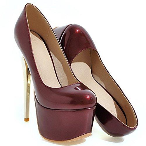 TAOFFEN Women Western Slip on Stiletto Party Platform Court Shoes 441 Winered 5gis3