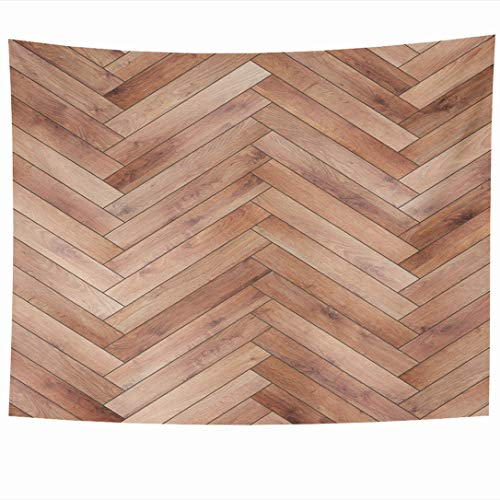Ahawoso Tapestry 80 x 60 Inches Light Brown Ash Wood Parquet Herringbone Natural Arrow Beechwood Chevron Floor Flooring Design Wall Hanging Home Decor Tapestries for Living Room Bedroom Dorm