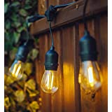 Hyperikon LED Outdoor Commercial String Lights, 48ft Patio Lights with 15 Dropped Sockets, 2W LED S14 LED Bulbs included - Weatherproof Vintage Edison String Lights Great for Patio, Backyard, Garden, Wedding