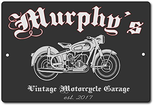 Personalized Vintage Motorcycle Garage Sign Customizable Aluminum Sign - Indoor or Outdoor use/Man Cave Decor/Gift Novelty Sign Can be Personalized