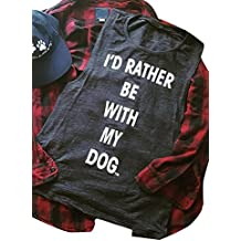 Mk shop limited Womens I'd Rather Be with My Dog Tank Top Sleeveless Racerback T Shirt Vest