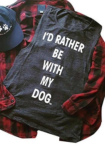 Dog Tank (Amazing speed Women Yoga Sleeveless I'd Rather Be With My Dog Tank Tops Cami Shirts (Drak Gray, L))