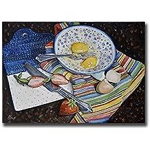Polish Pottery Bowl Still Life Wall Art Print, Americana Kitchen Farmhouse Decor, size mat option
