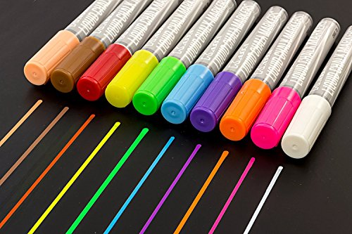 Kassa-Erasable-Chalk-Markers-10-Fluorescent-Colors-Child-Safe-Non-Toxic-Reversible-Tips-Chisel-Bullet-Liquid-Chalkboard-Paint-Ink-Blackboard-Pens-for-Glass-Windows-and-Bistro