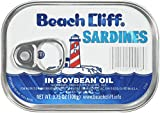 BEACH CLIFF Sardines in Soybean Oil, High Protein Food, Keto Food and...
