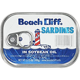 BEACH CLIFF Sardines in Soybean Oil, High Protein Food, Keto Food and Snacks, Gluten Free Food, High Protein Snacks, Canned Food, Bulk Sardines in Oil, 3.75 Ounce Cans (Pack of 18)