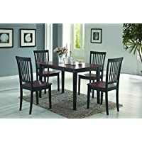 Coaster Home Furnishings  5 Piece Modern Transitional Rectangular Dining Set - Tobacco / Black