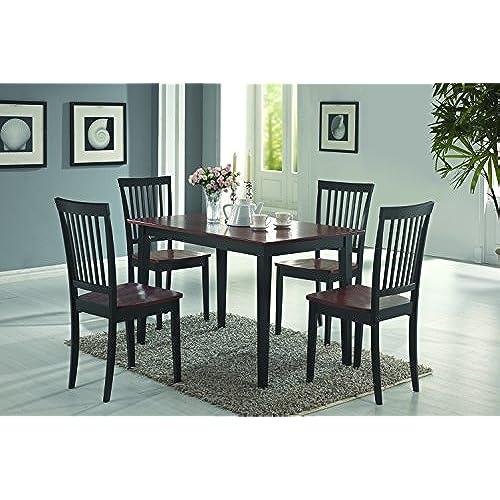 Coaster Home Furnishings 5 Piece Modern Transitional Rectangular Dining Set    Tobacco / Black