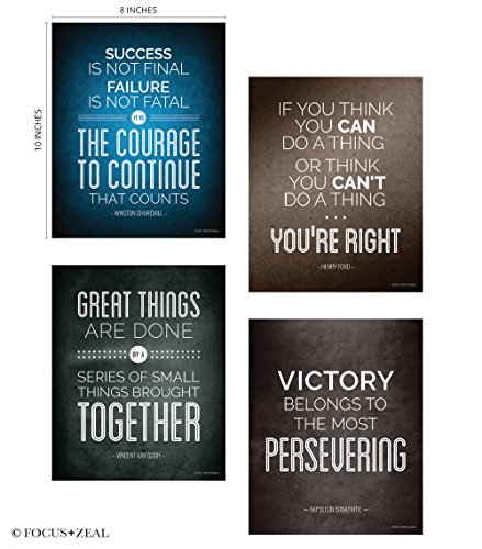 [Quotes Motivational Inspirational Happiness Decorative Poster Print for Courage, Think You Can, Great Things, Victory, Persevering, Success 8 x 10 Inch Set of 4] (Inspirational Wall Decor)