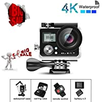 KAMRE Ultra HD 4K WIFI Sports Action Camera Waterproof DV Camcorder with 2 Inch LCD Screen/2.4G Remote Control/2 Batteries/Desktop Charger, Travelling Bag Include Various Practical Accessories