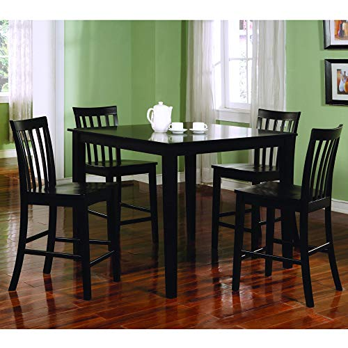 Ashland Black Counter Height 5-Piece Dining Set Modern Contemporary Rectangle Veneer Wood Finish (Counter Size Inch Bar What For 36 Stool)