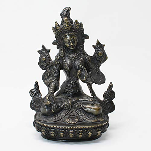 6 Inch Tall Brass Handmade White Tara Statue Craft of Nepal on Classical Tibetan Antique Style