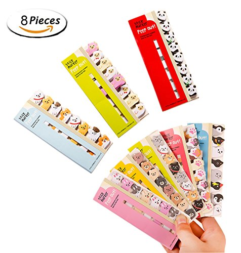 Cute Cartoon Sticky Notes,Fashionclubs Kawaii Animals Bookmarks Memo Note Pads Page Flag Index Tabs,8-Pack(960sheets)